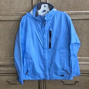 REI LIGHT BLUE RAIN JACKET ZIP UP With HOODIE